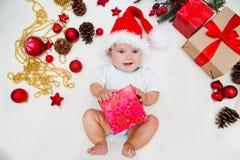 Eerste Kerstmis van de baby Stock Afbeeldingen