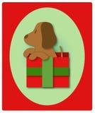 Eerste Kerstmis van het puppy Stock Fotografie
