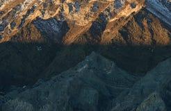 Eerste licht op de oostelijke Siërra Nevada Range, Californië Stock Foto's