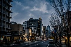 Eerste Lichten in Kobe stock fotografie