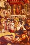 Eerste Mirakel die Oude Basiliek Guadalupe Mexico City Mexico schilderen Stock Foto