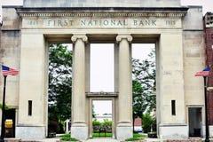 Eerste National Bank-Binnenplaats, Elkhorn, WI Royalty-vrije Stock Fotografie