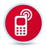 Eerste rode ronde knoop van het Cellphone de bellende pictogram vlak stock illustratie