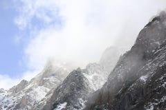 Eerste sneeuw in de bergen Stock Foto's