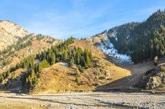Eerste sneeuw in de bergen in de herfst Stock Afbeelding