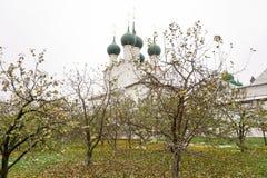 Eerste sneeuw Het Kremlin in Rostov Groot royalty-vrije stock foto's