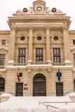 Eerste Sneeuw op National Bank van Roemenië Stock Fotografie