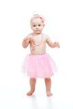 Eerste stappen van mooie baby op witte achtergrond royalty-vrije stock foto's