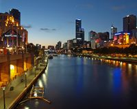 Eerste ster over Melbourne Stock Foto's