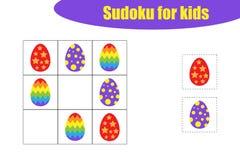 Eerste Sudoku-spel met Pasen-beelden voor kinderen, gemakkelijk niveau, onderwijsspel voor jonge geitjes, peuteraantekenvelactivi royalty-vrije illustratie