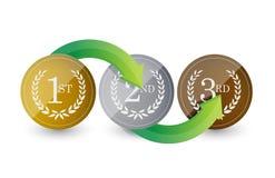eerste, tweede, de 3de stappen van toekennings gouden emblemen Stock Afbeelding