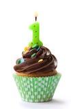 Eerste verjaardag cupcake Stock Afbeelding