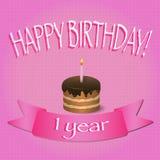 Eerste verjaardag cupcake met aangestoken kaars Gelukkige Verjaardagskaart met Royalty-vrije Stock Afbeeldingen