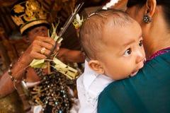 Eerste verjaardag (Oton) op Bali eiland, Indonesië Stock Afbeeldingen