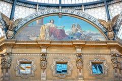 Eerste winkelcomplex, Galleria Vittorio Emanuele II Stock Afbeeldingen