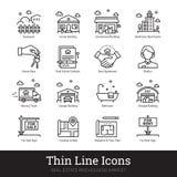Eestate real, moviéndose, casa de compra línea fina iconos stock de ilustración