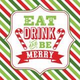 Eet drank en ben vrolijk Kerstmis het zeggen woordart. royalty-vrije illustratie