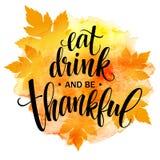 Eet, drink en ben dankbare Hand getrokken inschrijving, het ontwerp van de dankzeggingskalligrafie Vakantie die voor uitnodiging  stock illustratie