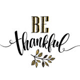 Eet, drink en ben dankbare Hand getrokken inschrijving, het ontwerp van de dankzeggingskalligrafie Vakantie die voor uitnodiging  Royalty-vrije Stock Foto