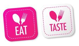 Eet en proef stickers Stock Afbeeldingen