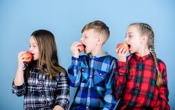 Eet fruit en ben gezond De tijd van de schoolsnack Het hebben van smakelijke snack Jongen en meisjes de vrienden eten appelsnack  royalty-vrije stock foto