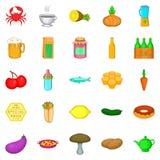 Eet geplaatste omhoog pictogrammen, beeldverhaalstijl Stock Foto
