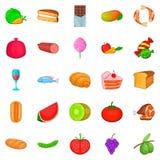 Eet geplaatste pictogrammen, beeldverhaalstijl te veel Stock Afbeeldingen