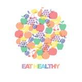 Eet gezond - de motievenaffiche of de banner met kleurrijke uitdrukking eet gezond met pictogrammen en tekens van vruchten stock illustratie