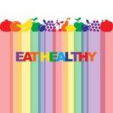 Eet gezond - de motievenaffiche of de banner met kleurrijke uitdrukking eet gezond met pictogrammen en tekens van vruchten royalty-vrije illustratie