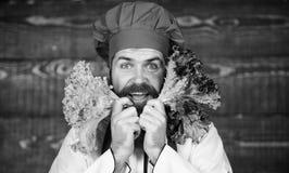 Eet gezond Gezond ruw voedsel Het op dieet zijn concept De hoed van de mensenslijtage en de salade van de schortgreep Gezonde voe royalty-vrije stock foto's
