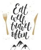 Eet goed reis vaak, moderne kalligrafie met plons royalty-vrije illustratie