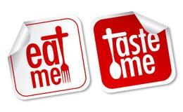 Eet me en proef me stickers Royalty-vrije Stock Foto