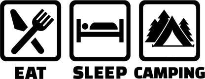 Eet slaap het kamperen royalty-vrije illustratie