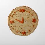 Eetbaar horloge van wortel en pannekoek Royalty-vrije Stock Afbeeldingen