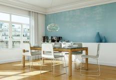 Eetkamer binnenlands ontwerp met blauwe muur Royalty-vrije Stock Afbeeldingen