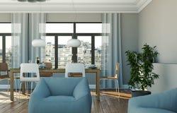 Eetkamer binnenlands ontwerp in moderne flat Royalty-vrije Stock Foto's