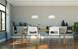 Eetkamer binnenlands ontwerp in moderne flat Royalty-vrije Stock Foto