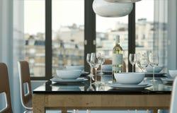 Eetkamer binnenlands ontwerp in moderne flat Royalty-vrije Stock Afbeeldingen