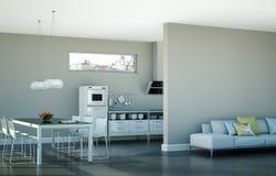 Eetkamer binnenlands ontwerp in moderne flat Stock Afbeelding