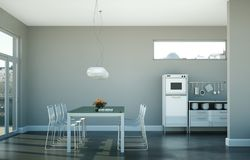 Eetkamer binnenlands ontwerp in moderne flat Royalty-vrije Stock Afbeelding