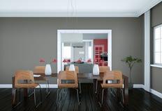 Eetkamer binnenlands ontwerp in moderne flat Stock Foto's