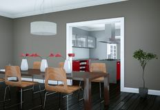 Eetkamer binnenlands ontwerp in moderne flat Stock Foto