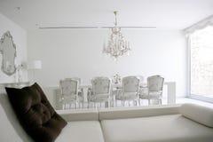 Eetkamer, het witte binnenland van het zitkamergebied Royalty-vrije Stock Foto