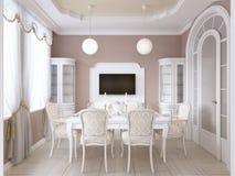 Eetkamer met witte lijst en stoelen voor zes mensen met twee buffetten en een TV royalty-vrije illustratie