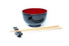 Eetstokjes en Japanse stijlkom stock foto's