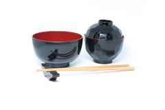 Eetstokjes en Japanse stijlkom royalty-vrije stock afbeelding