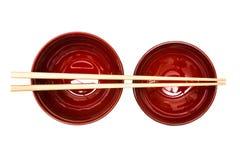 Eetstokjes en Japanse stijlkom royalty-vrije stock foto