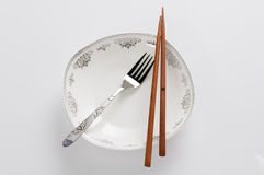 Eetstokjes en vork Royalty-vrije Stock Foto