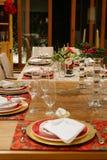 Eettafel bij Kerstmis Royalty-vrije Stock Afbeeldingen