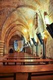 Eetzaal van de Hospitaller-Vesting in Acre Israël stock foto